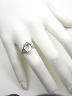 Vintage Filigree Aquamarine Engagment Ring
