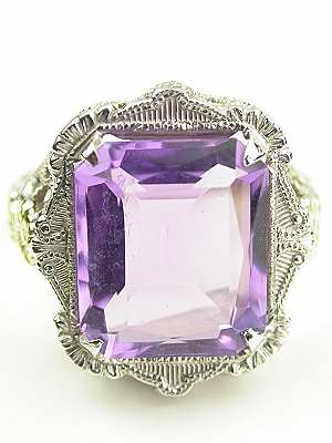 Vintage Amethyst Cocktail Ring with Floral Trim