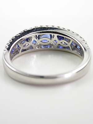 Sapphire and Diamond Antique Style Wedding Ring