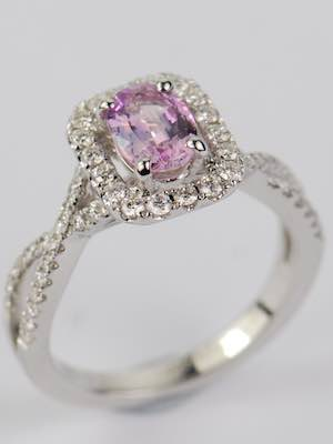 Pink Sapphire Engagement Ring with Swirling Band