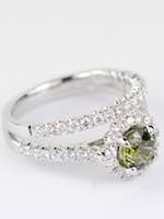 Green Sapphire Engagement Ring Set