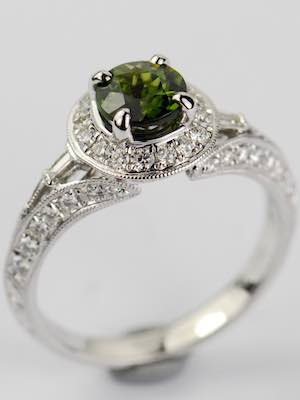 Halo Engagement Ring with Tourmaline