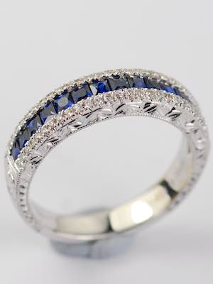 Vintage Style Wedding Ring with Sapphires