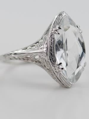 Antique Ring with Marquise Cut Aquamarine