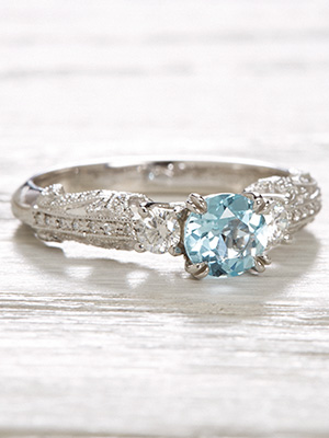 Vintage Style Engagement Ring with Aquamarine