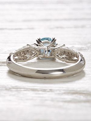 Vintage Style Engagement Ring with Aquamarine