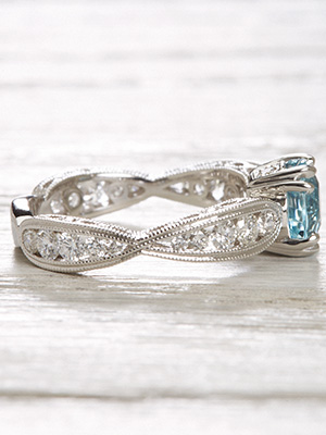 Aquamarine Engagement Ring with a Scalloped Band