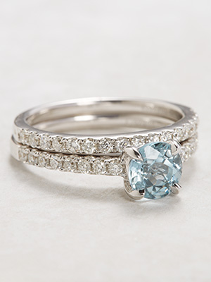 Aquamarine Bridal Rings Set