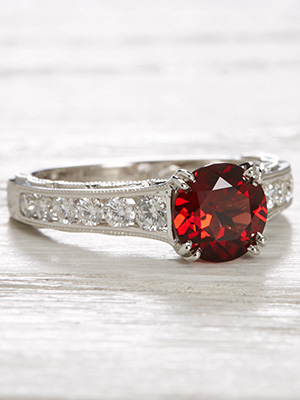 Vintage Style Engagement Ring with Almandine Garnet