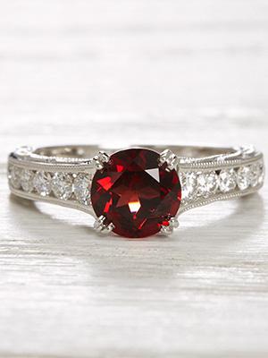 Vintage Style Engagement Ring with Almandine Garnet
