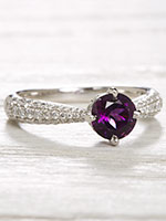 Amethyst and Diamond Vintage Style Engagement Ring
