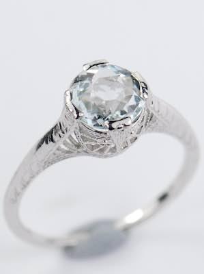 Antique Aquamarine Engagement Ring with Filigree