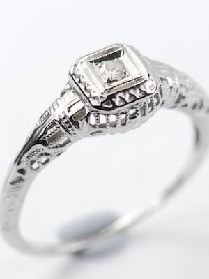 Edwardian Antique Filigree Engagement Ring