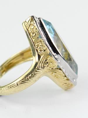 Vintage Aquamarine Ring with Orange Blossom Motif