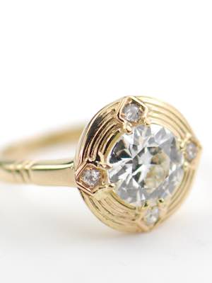 Vintage Engagement Ring with Old Cut Diamonds