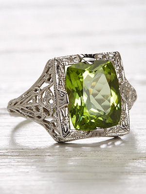 Antique Peridot Cocktail Ring with Filigree