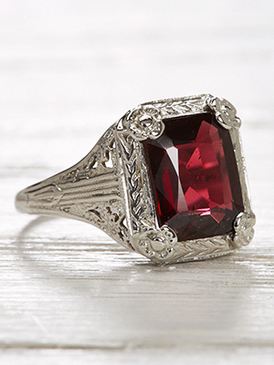 Vintage Almandine Garnet Ring with a Floral Design