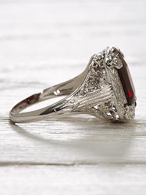 Vintage Almandine Garnet Ring with a Floral Design