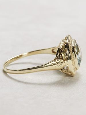 Art Deco Antique Ring with Aquamarine and Filigree