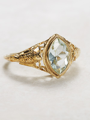 Antique Aquamarine Ring with Bird Motif Trim