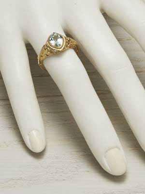 Antique Aquamarine Ring with Bird Motif Trim