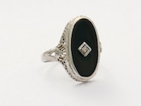 Black Onyx and Diamond Vintage Ring