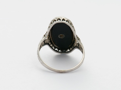 Black Onyx and Diamond Vintage Ring