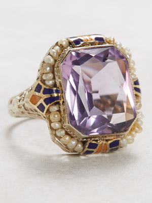 1930s Vintage Ring with Amethyst and Pearls