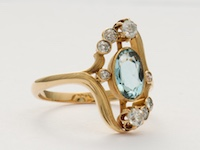 Art Nouvea Antique Aquamarine Ring