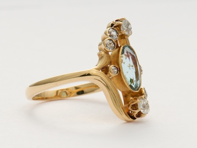 Art Nouveau Antique Aquamarine Ring