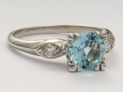 Aquamarine Antique Engagement Ring in Platinum