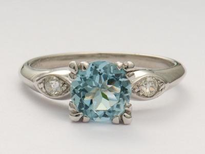 Aquamarine Antique Engagement Ring in Platinum