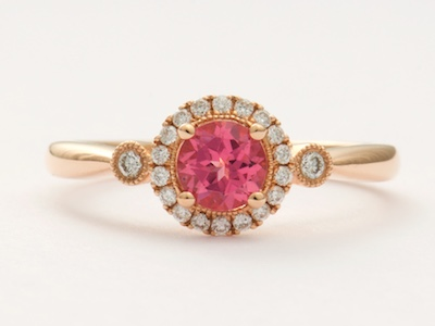Vintage Inspired Engagement Ring in Rose and Pink