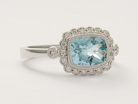 Aquamarine and Diamond Vintage Style Engagement Ring