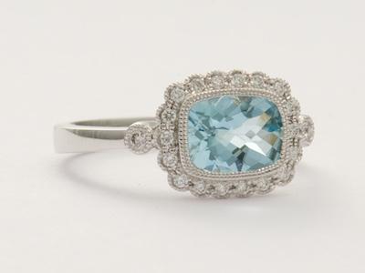 Aquamarine and Diamond Vintage Style Engagement Ring