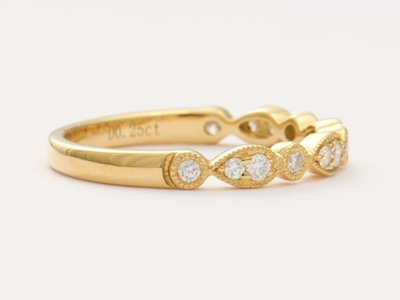 Yellow Gold and Diamond Vintage Style Wedding Ring