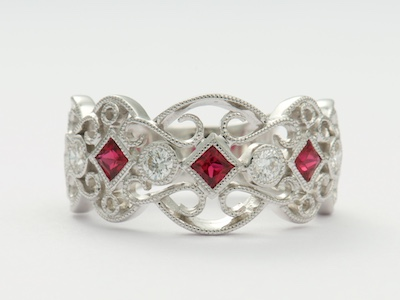 Ruby and Diamond Filigree Wedding Ring