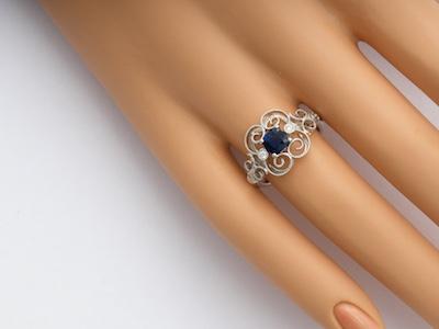 Swirling Filigree Vintage Style Engagement Ring