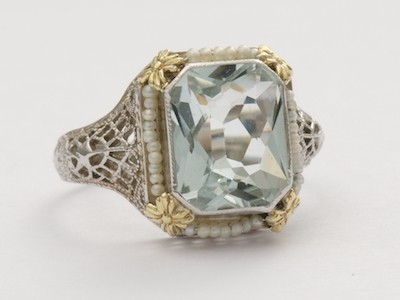 Aquamarine Antique Ring with Pearls and Filigree