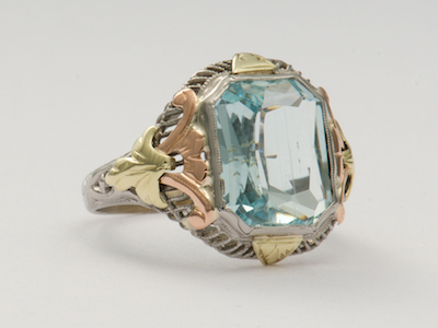 Hand Wrought Vintage Ring with Aquamarine