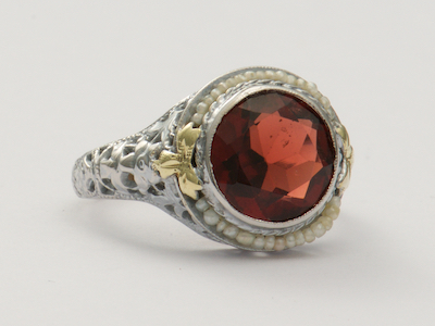 Almandine Garnet Antique Ring with Pierced and Floral Design