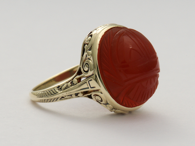 Carnelian Scarab Antique Ring