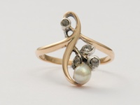 Victorian Pearl and Diamond Antique Engagement Ring