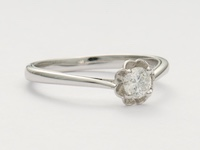 Charming Rose Petal Vintage Style Engagement Ring