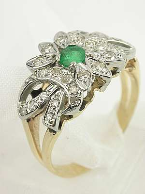 Leaf and Bow Emerald Antique Engagement Ring