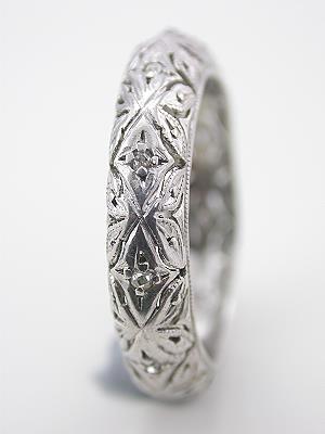Antique Platinum Filigree Wedding Ring