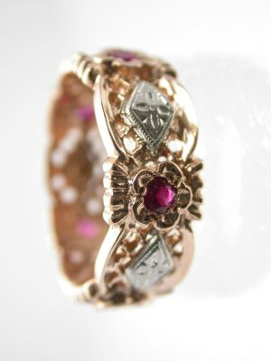 Retro Rose Gold and Ruby Eternity Band