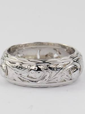 Vintage Wedding Ring with Flowers and Leaves